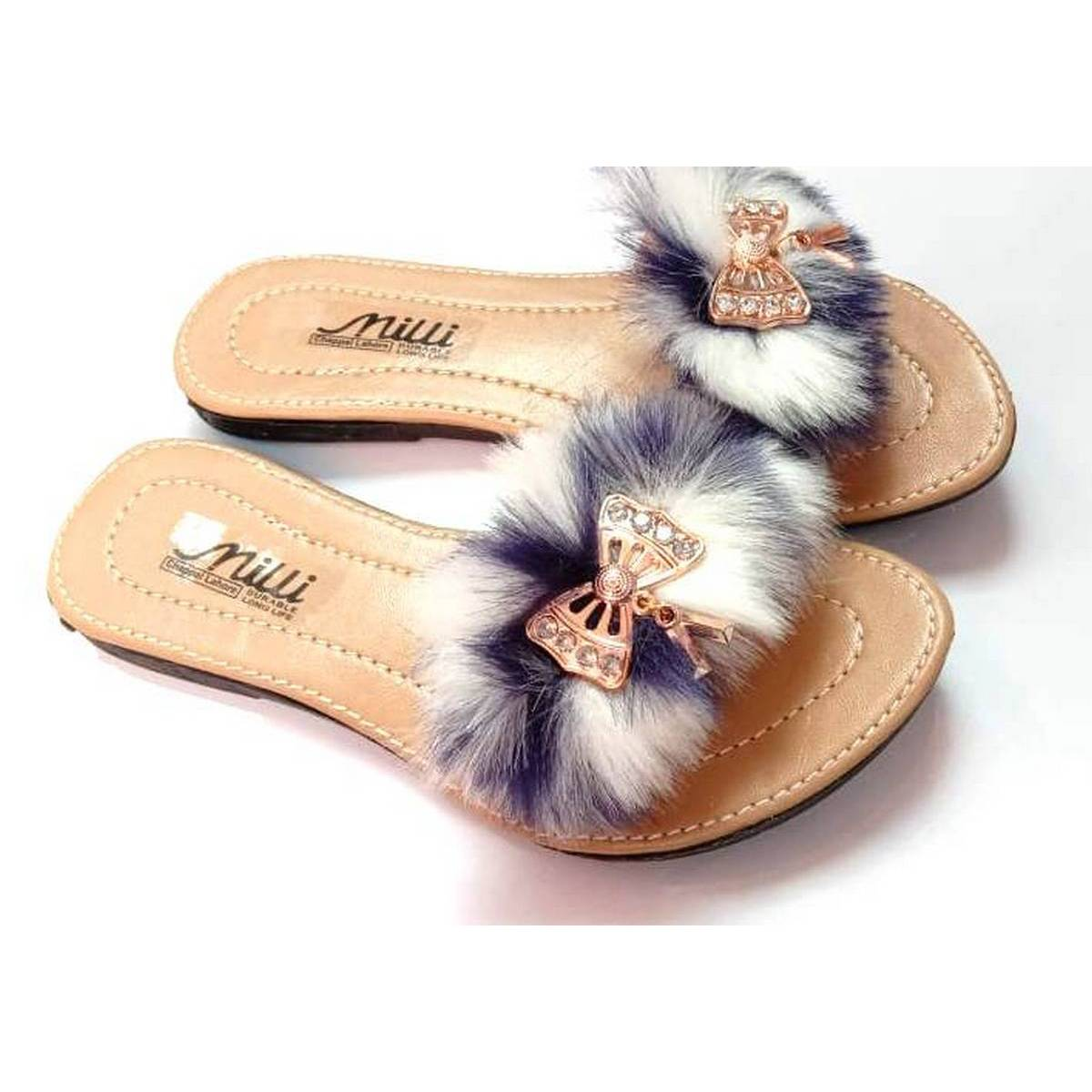Ladies Slippers For Girls (Navy Blue White Brown)