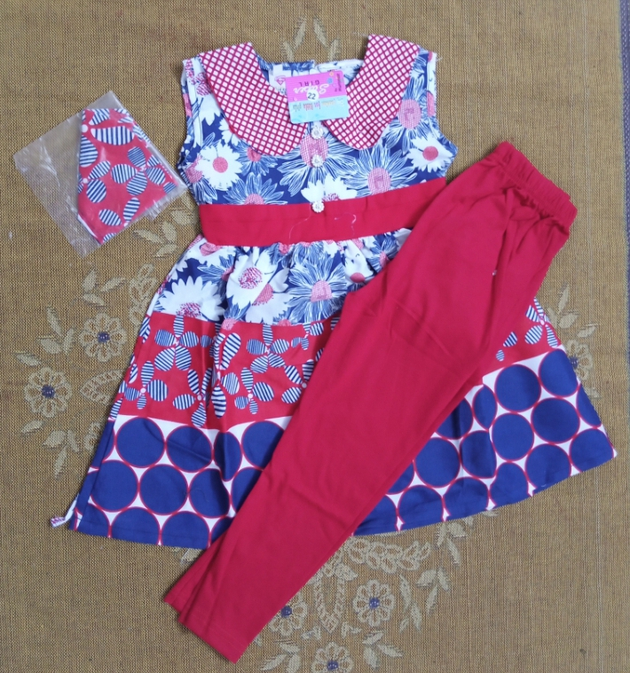 ATfaal Girl Summer Cotton Frock With Tights (Sleeves Seprotely Attached) Girl Fashion