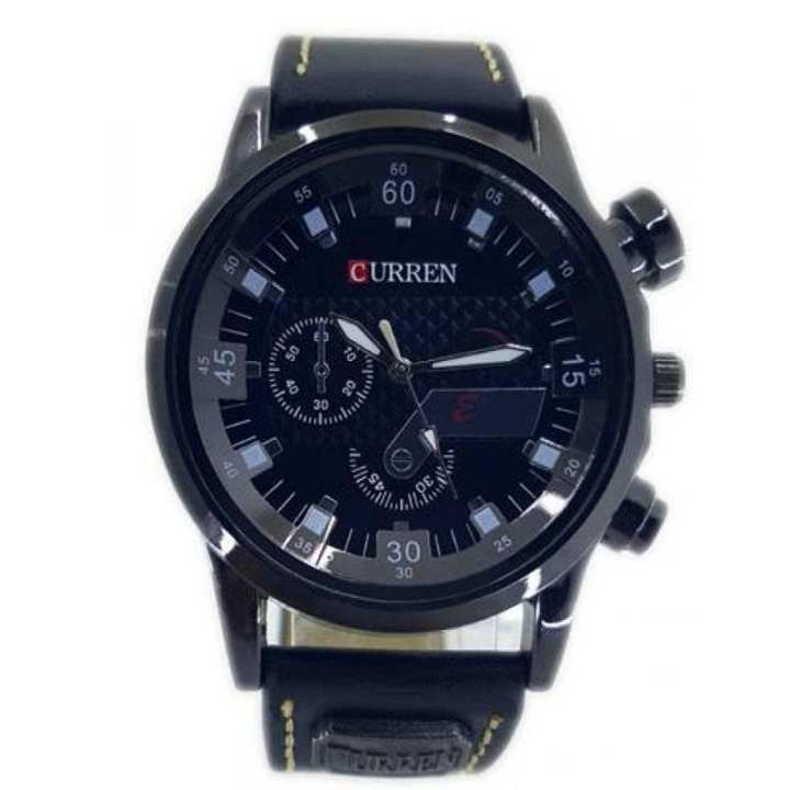 Curren Black Leather Watch For Men