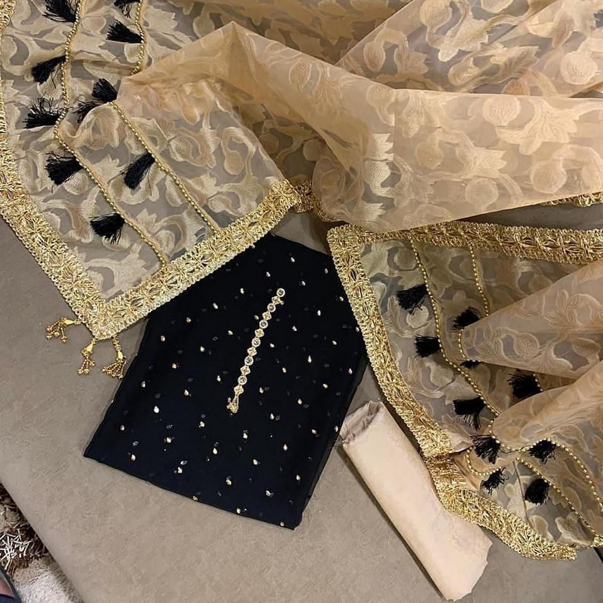 sastaae Organza Jacquard 3 Pcs Un-stitched Suit With Chiffon Handwork Stone Shirt & Maysori Trouser - Black