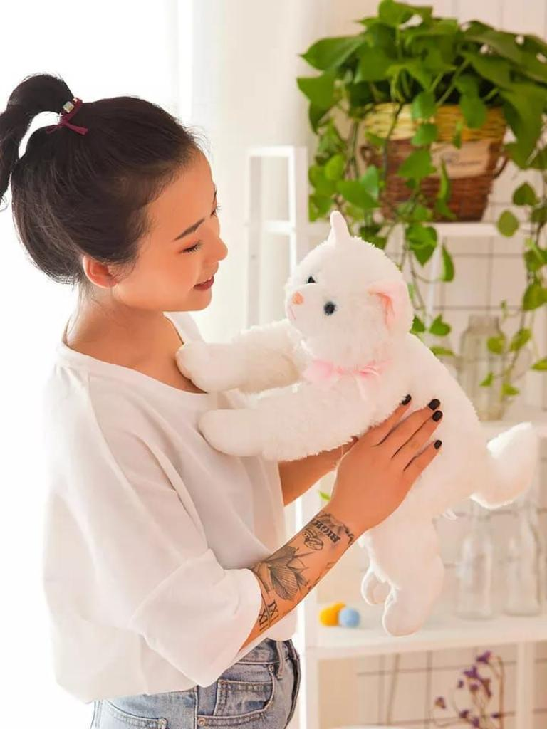 """Hot Sale Can Sound """"Meow Meow'' Imported Quality Realistic Soft Stuff Animals Cats Plush Stuffed Toys For Kids Gifts"""