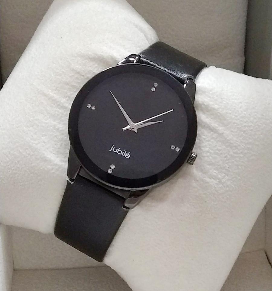 Fancy Black Leather Strap Watch For Men
