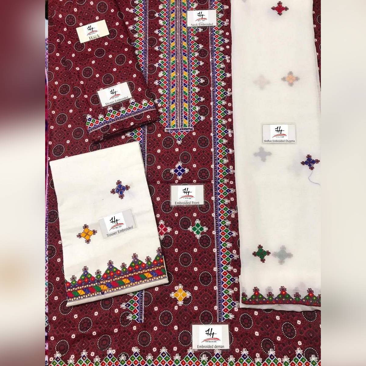 Sindhi Ajrak Embroidery Lawn 3 piece Suit with Chiffon dupatta  Sindhi Style  New update