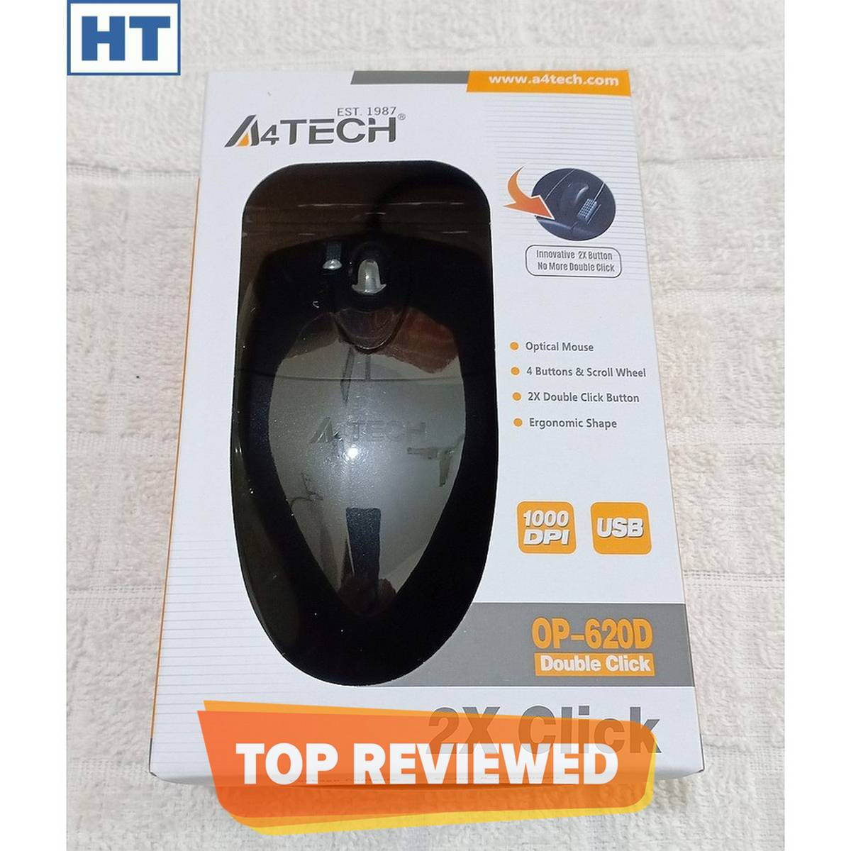 A4Tech Mouse OP-620D - USB Wired - 4 Buttons - 1000 dpi - V Track Optical - Durable - Black - (Original with S/N) - for PC
