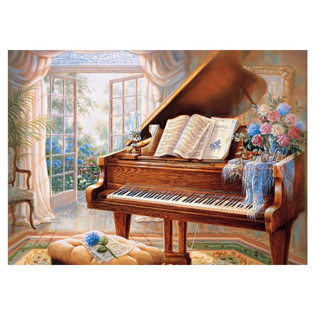 Heaven Light Piano DIY Full Drill Round Diamond Painting Embroidery Kits  Cross Stitch