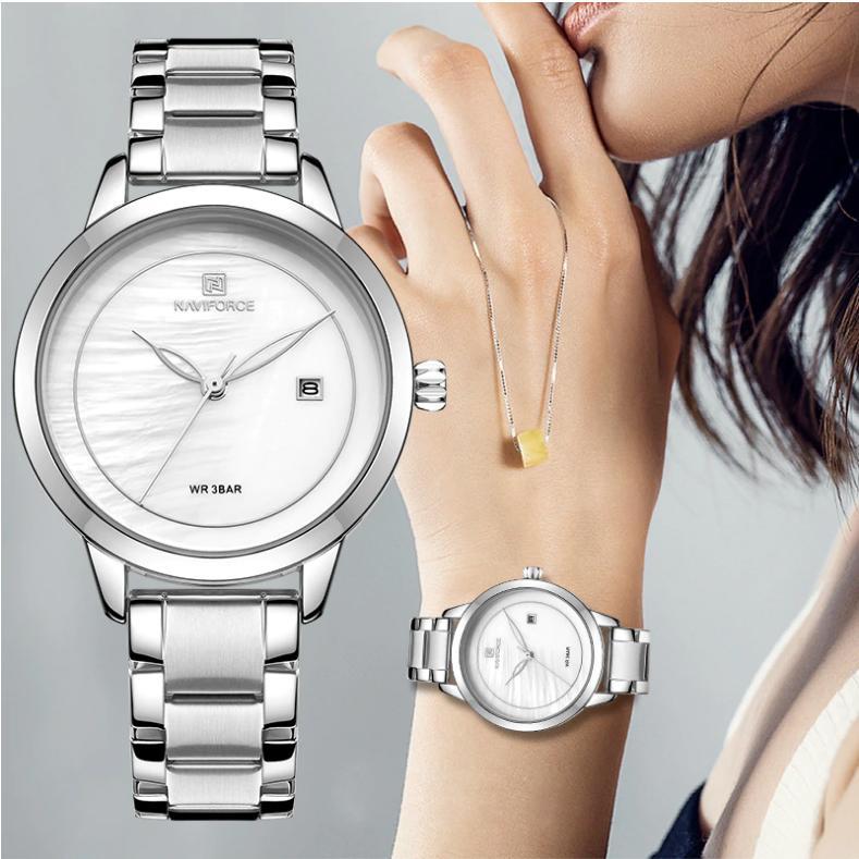 Naviforce Elegant Edition Japan Quartz Waterproof Analog & Date Watch For Ladies With Brand Box - NF-5008
