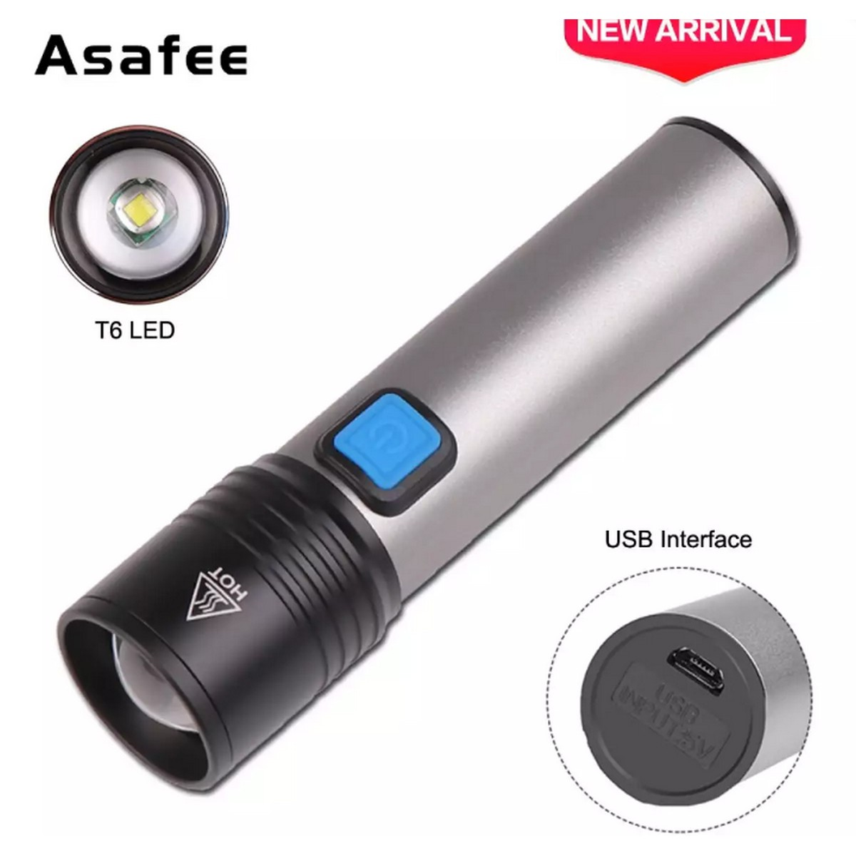 K31 Powerful T6 LED Flashlight Lamp Zoom Torch USB Rechargeable led Light Camping Lamp Flash Light Torch