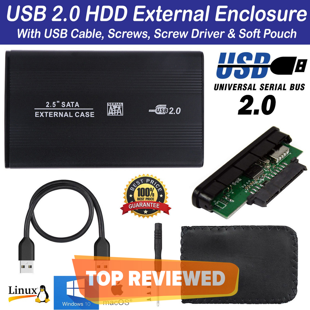 USB 2.0 SATA External 2.5 inch HDD Case Hard Drive Enclosure Disk Case Box For PC LAPTOP