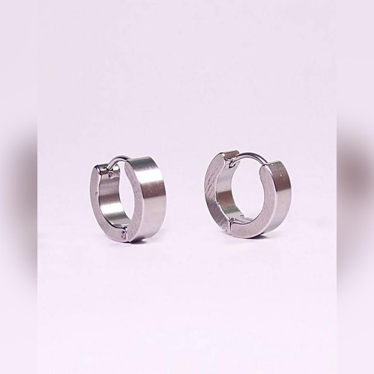 Silver Stainless Steel Earring Unisex