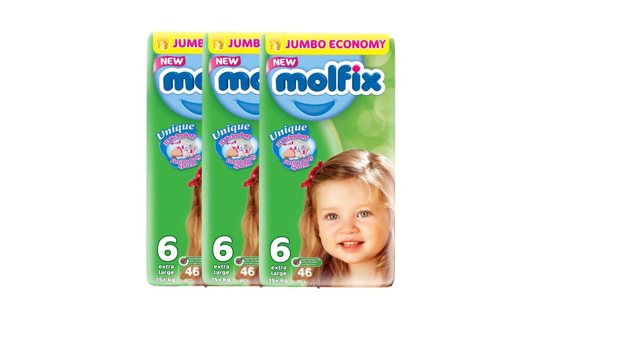 Molfix 3D Baby Diaper Pack of 3 Jumbo Packs - Size 6 XL 46 pcs 15kg