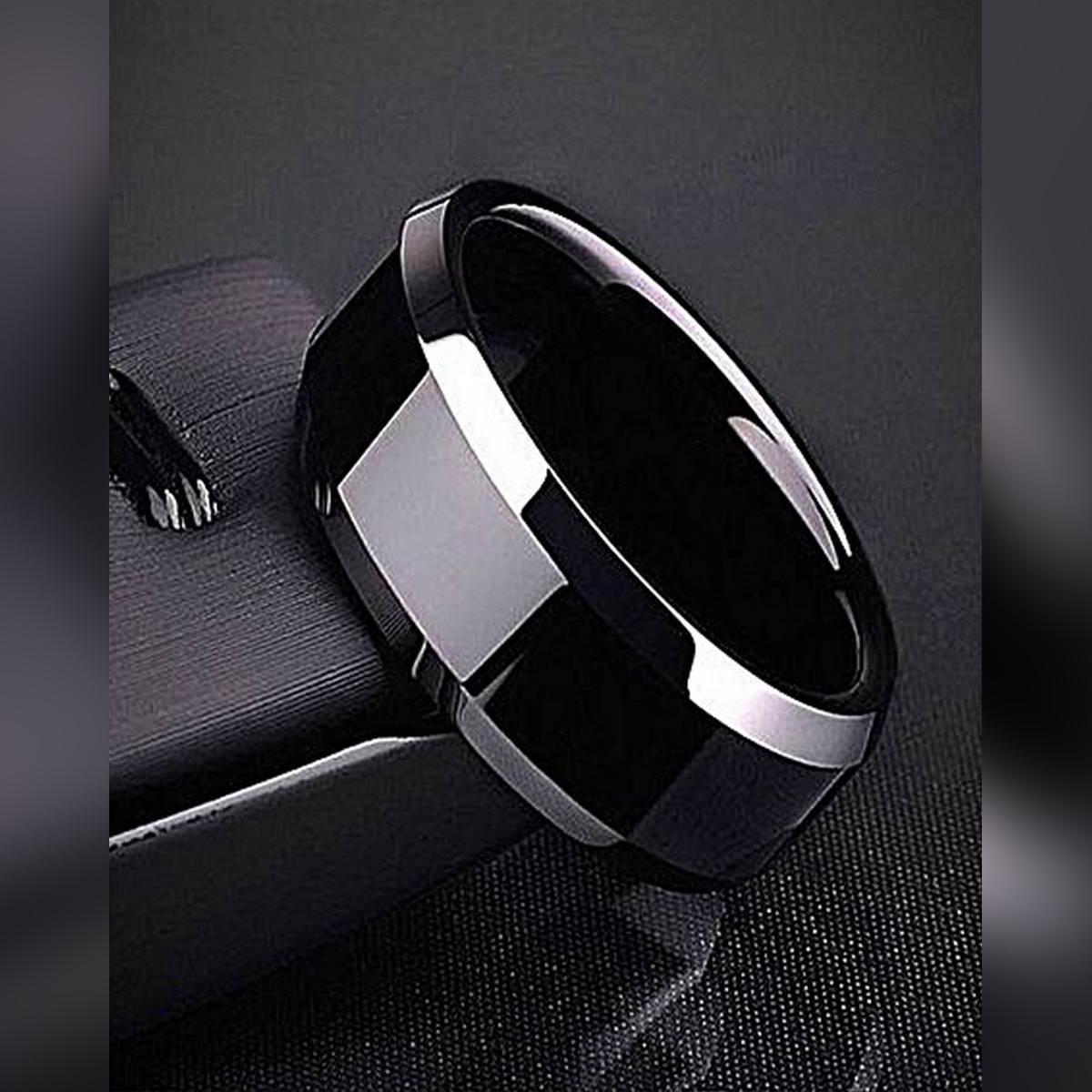 Black Titanium Ring for Men - Square Black Ring For Boys - Casual Black Polished Biker Ring
