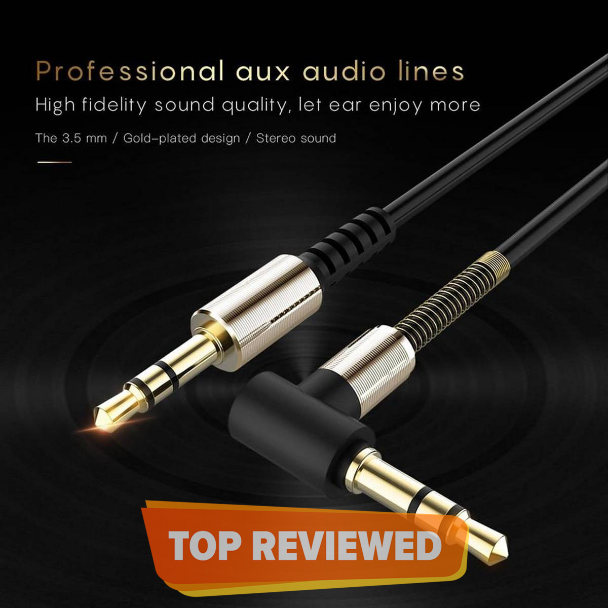 1.5 Meter 3.5mm AUX Cable L-Shaped Spring highly Durable, Male to Male For Speakers/Headphones/Deck/Car Connection from mobile to Amplifiers
