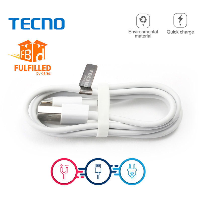 100% Original Tecno Original USB Cable - Techno Mobile Charging USB To Micro USB Cable - Android Phones Charging Cable & Data Transfer Cable - White Color, High-Quality Charging Cable For Techno Mobiles | IMPORTED Cable For Techno Mobiles By Tijarat Onlin