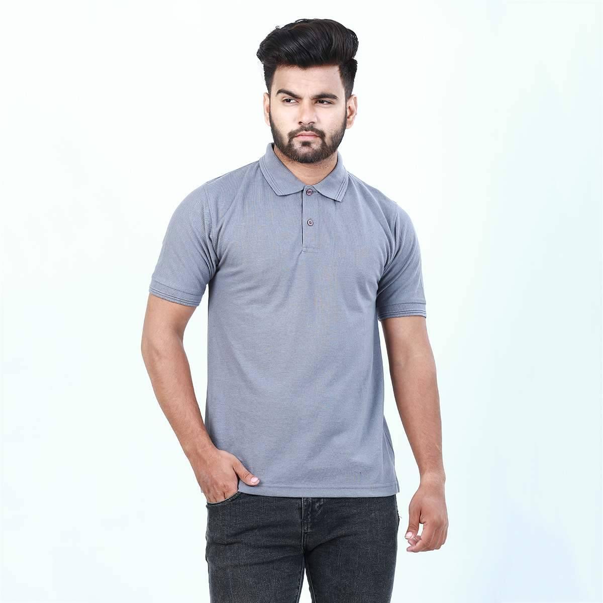 Anace Grey 100% Cotton Polo Shirt for Men's