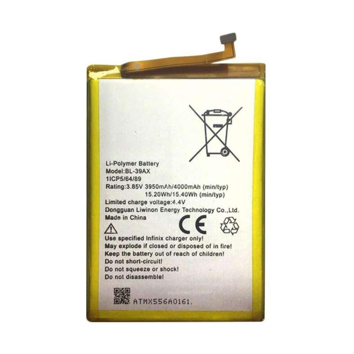 Product details of BL39AX Battery For Infinix Hot 4 X557-X556 High Capacity  4000mAh-Silver Brand Name: AE Compatible Brand: Other Original or Not: