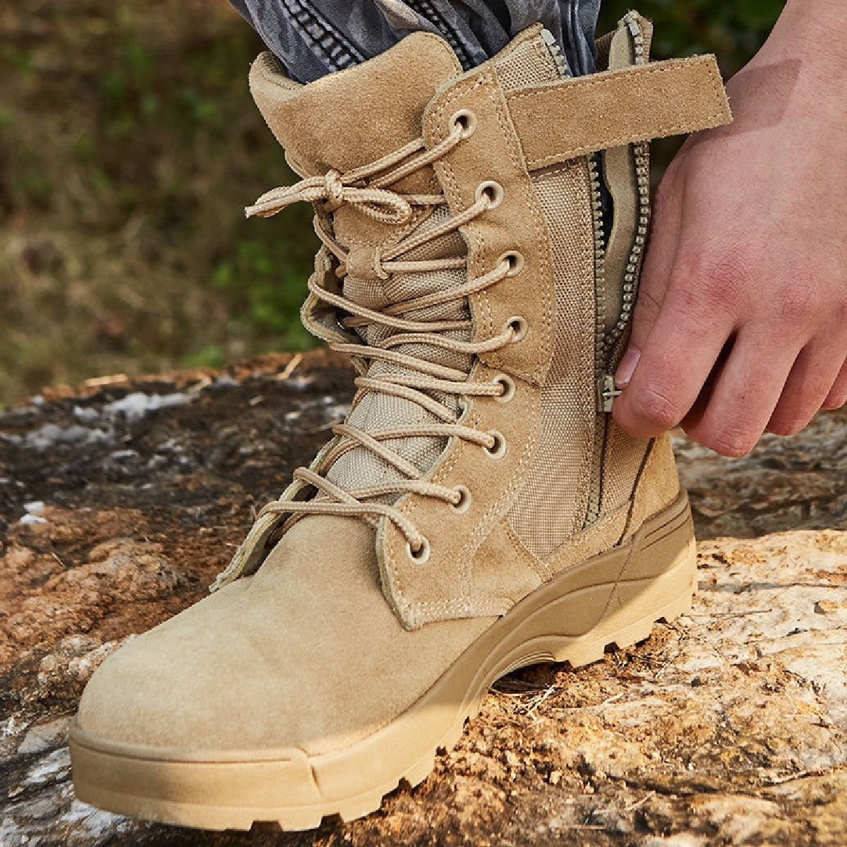 Delta army commando leather shoes Khaaki camel Shoes Commando Trekking Boots for men & boys