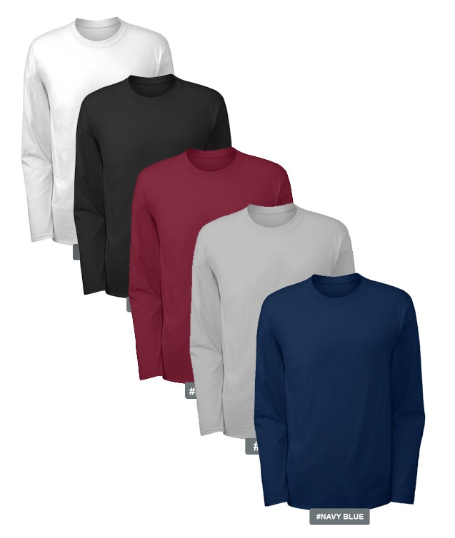 PACK OF 5 BASIC O NECK FULL SLEEVES COTTON JERSEY BLACK,MAROON,BLUE,WHITE,GREY T SHIRTS FOR MEN BY THRONE BY HASHTAG TFRT-P05-020