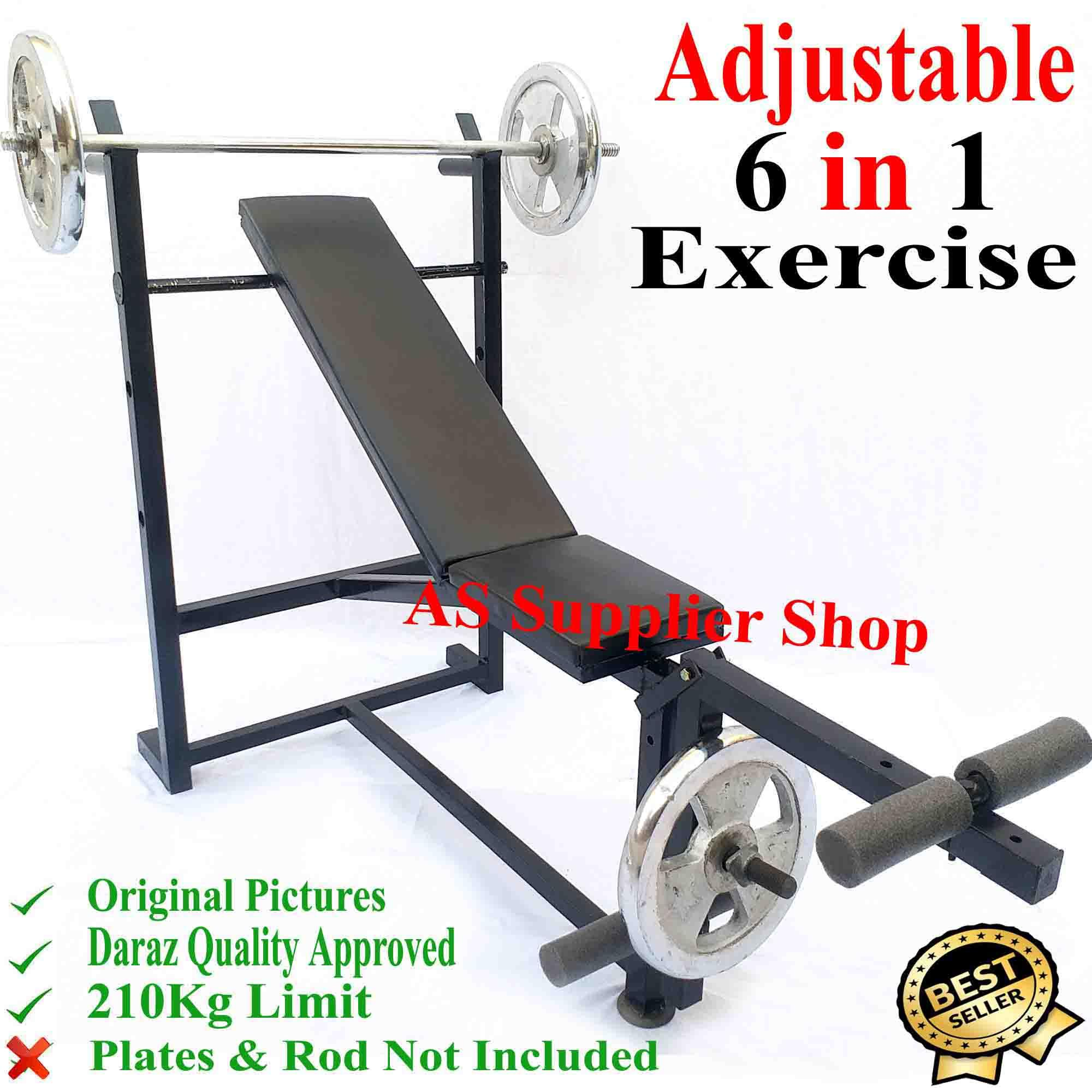 174ba074e46 BEST Quality Multi 6 Exercise Adjustable Chest Bench Press Incline Decline  Straight Flat Leg Biceps Bench