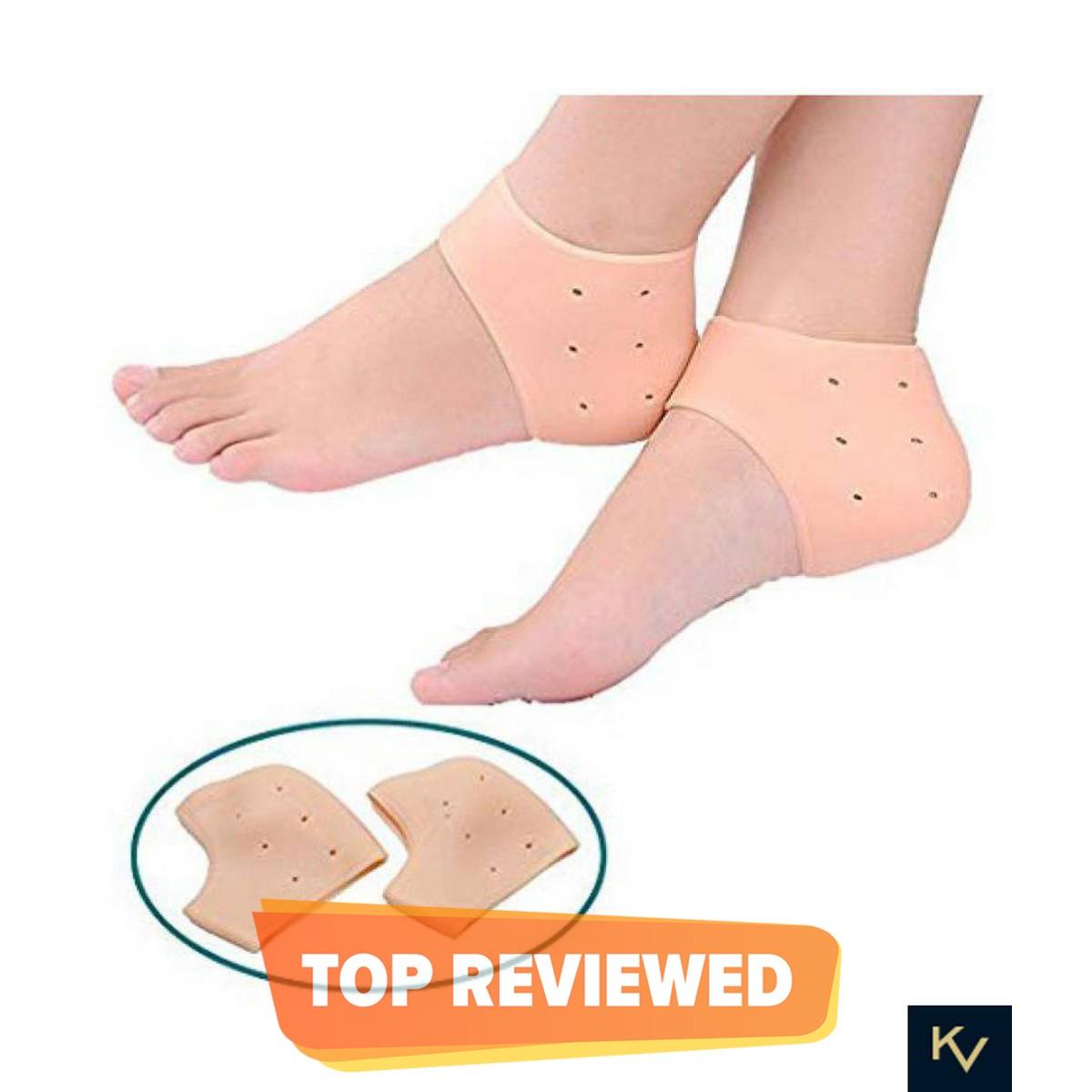 KV Silicon Heel Socks for Pain Relief Silicone Gel Heel Pad Socks for Men and Women Original Gel Heel Protector Heel Guard Heel Spur Relief 1 Pair