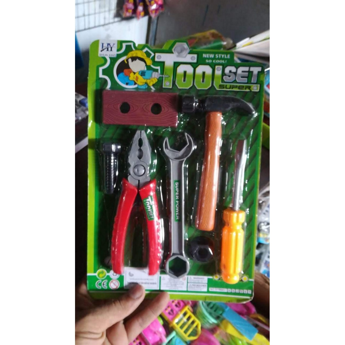 Super Tool Set - 7 Pieces - Plastic Toy Tool Kit Set For Kids - Green