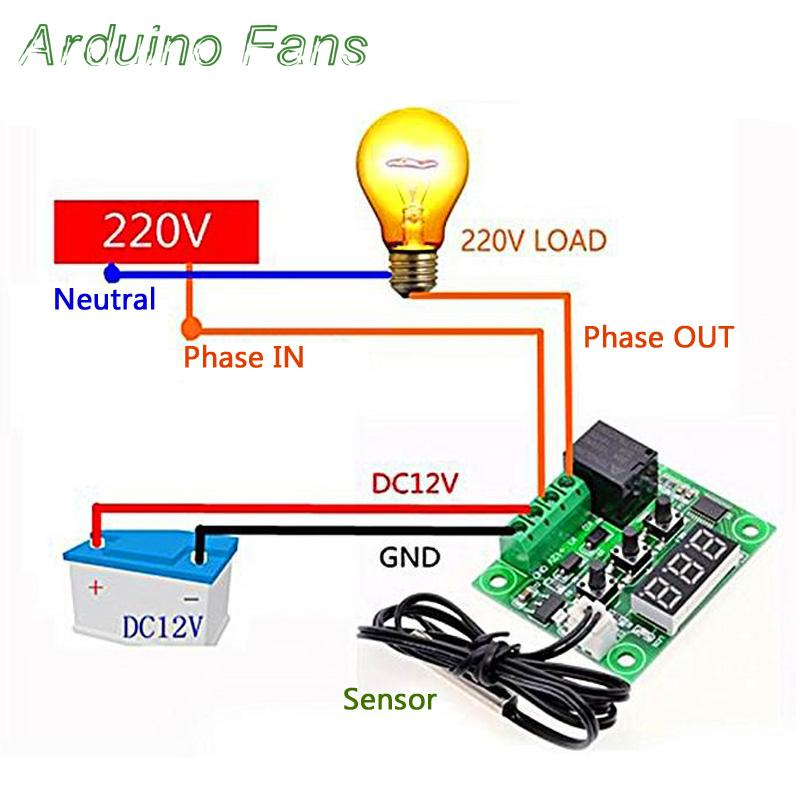 DC 12V LED Digital Thermostat Temperature Control Thermometer Controller  Switch Module W1209 Waterproof NTC Sensor -50-110 By Arduino Fans