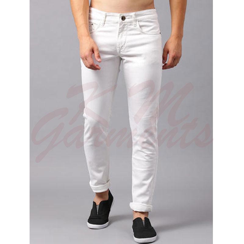 White Stretchable Narrow Denim Jeans For Him