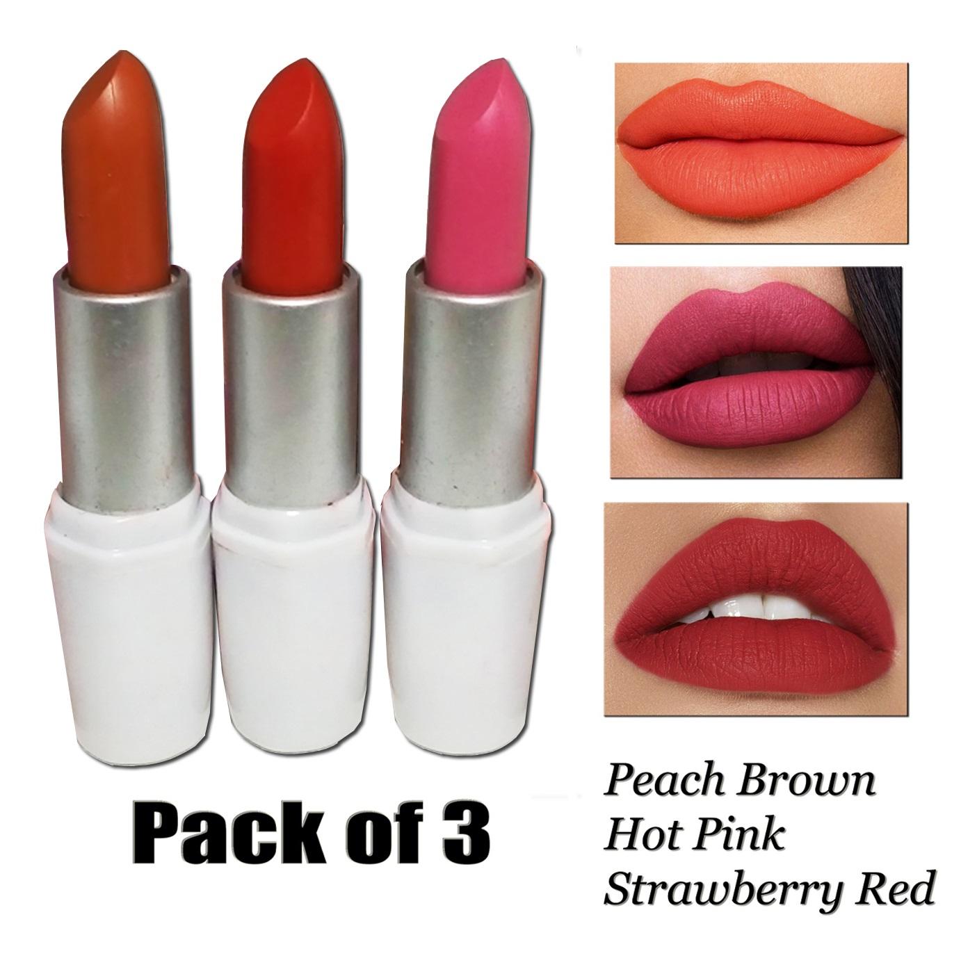 Pack Of 3 Matt Lipsticks For Women