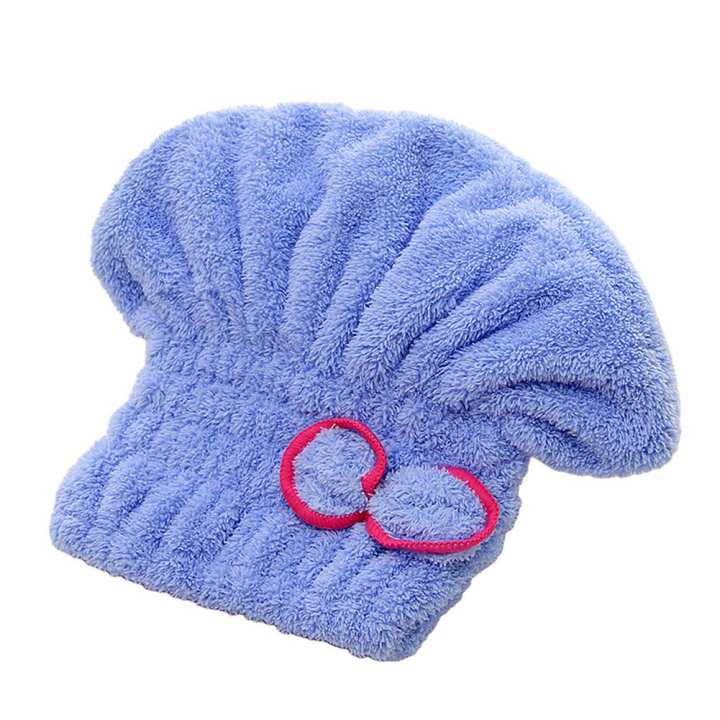 Huilopker 28cm Bath Towel Hair Dry Hat Coral Fleece Bowknot Cap Quick Drying 28cm Bath Tool Women Blue