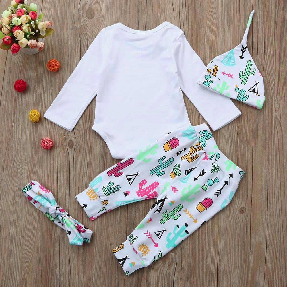 b6b712ce09b Rainbowroom Newborn Infant Baby Girl Letter Romper Tops+Pants+Hat+Headband  4pcs Clothes