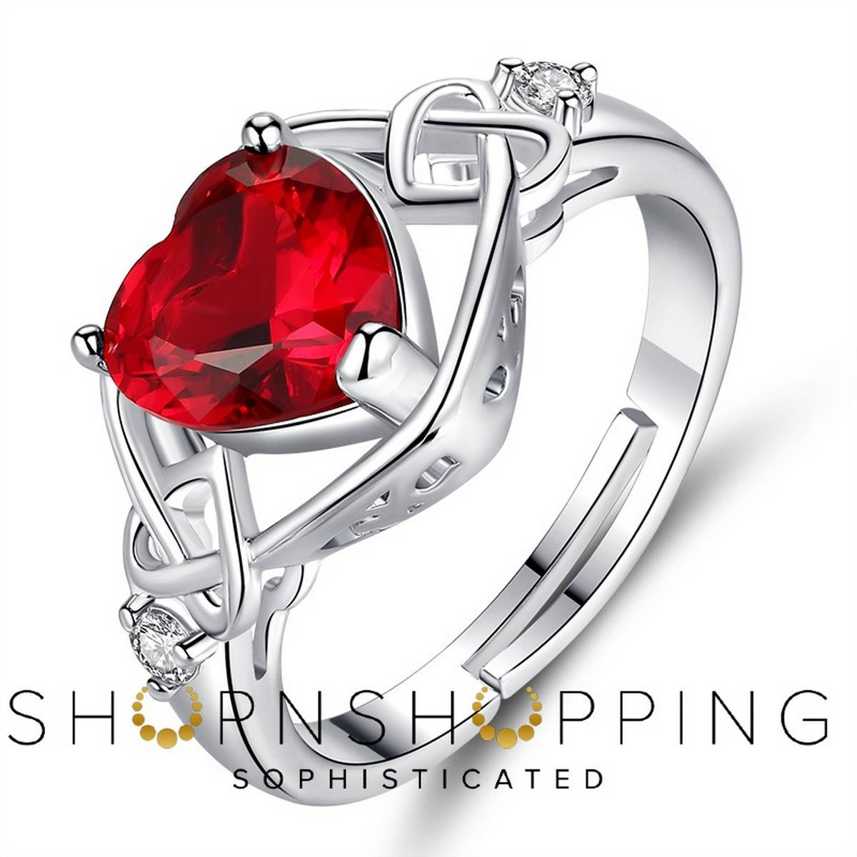 Imported High Quality Valentine Red Heart Zircon Rings for Girls Women - RHR01