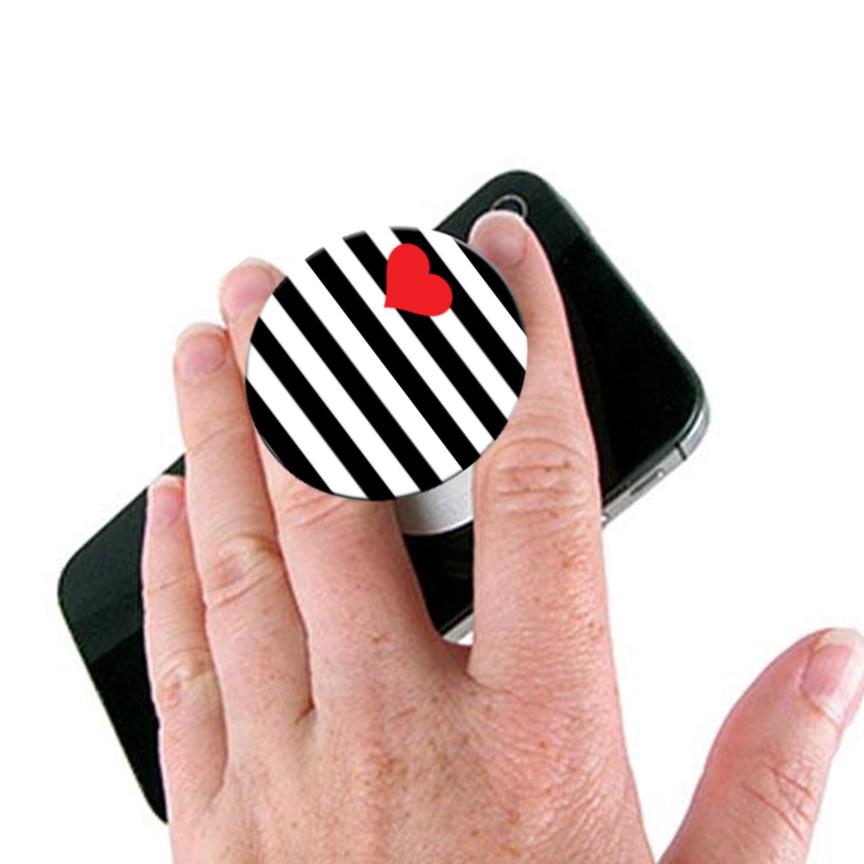 Heart Pop Socket Mobile Stand / Holder for Boys & Girls - Universal Pop Socket for Mobile Phone & Tablets & Cover - Black & White