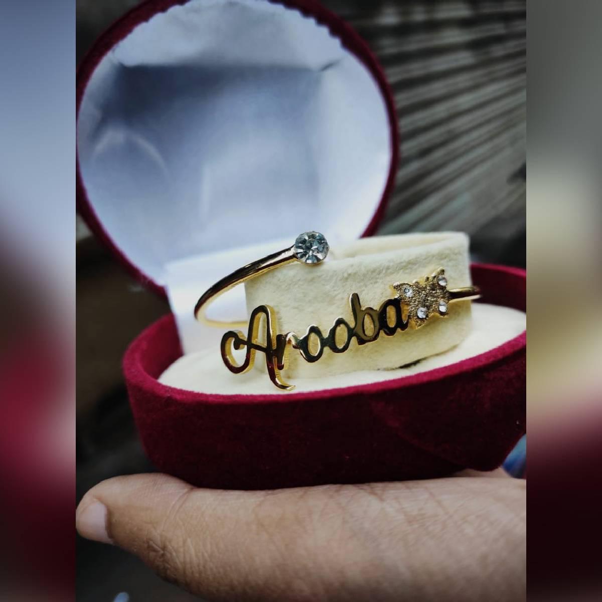 Gold Plated Name Bangle/ Bracelet for Girls & Women for Gift