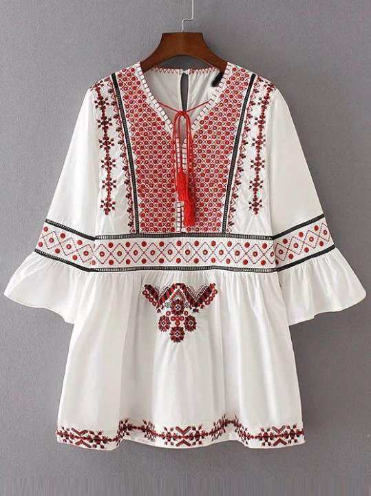 White Traditional Embroidered Kurti For Women
