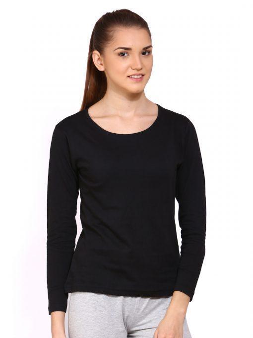 AL FAJAR Black Cotton Long Sleeves Stylish Tshirt T Shirt T-Shirt Top For Women For Girls
