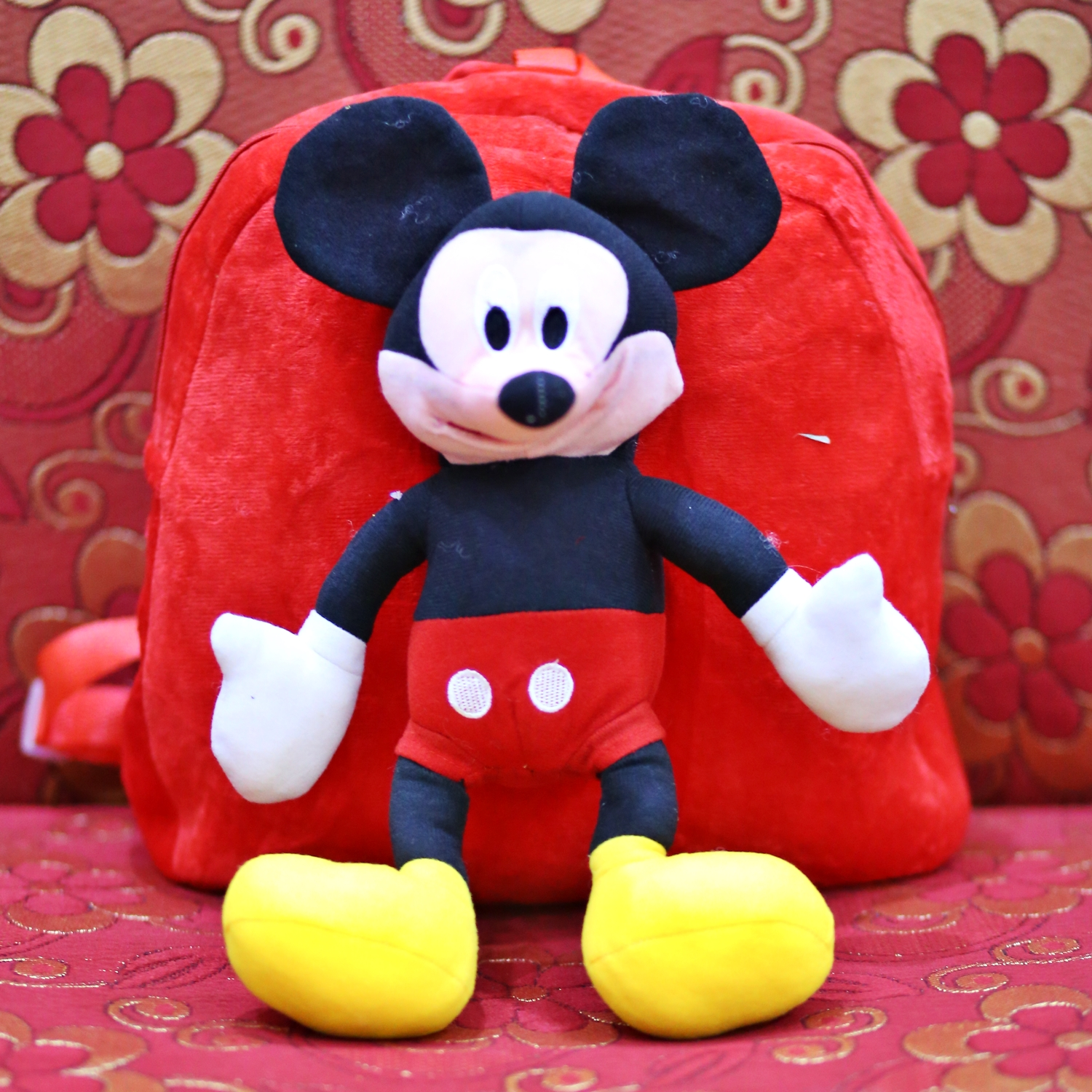Mickey Mouse Red Doll Character Kids School Bag For Boys and Girls