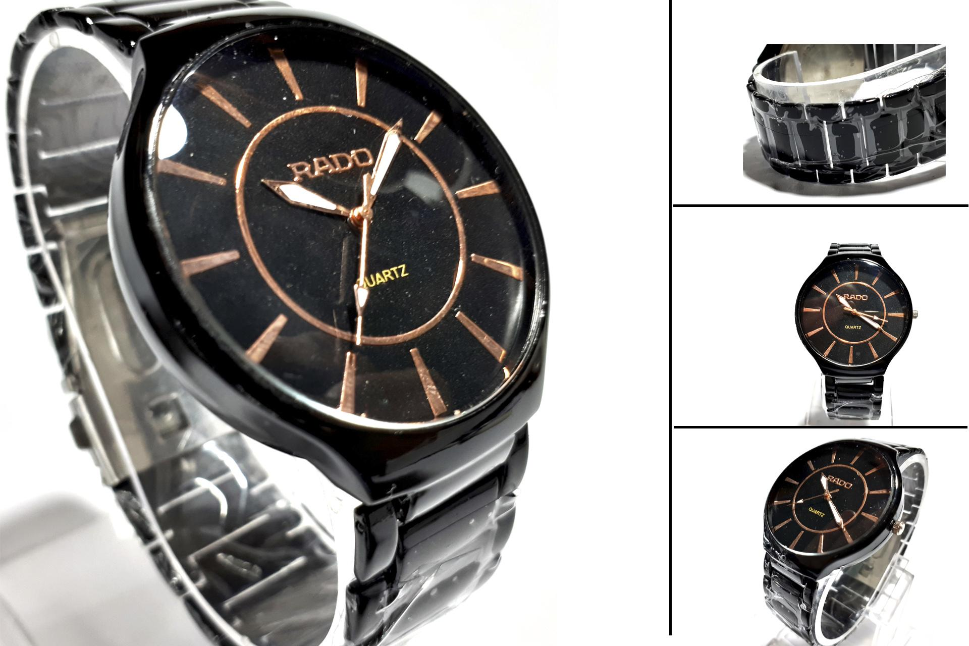 8a0aee5c6 New Luxury Men's Quartz Black & Golden Stainless Steel Wrist Watch ...
