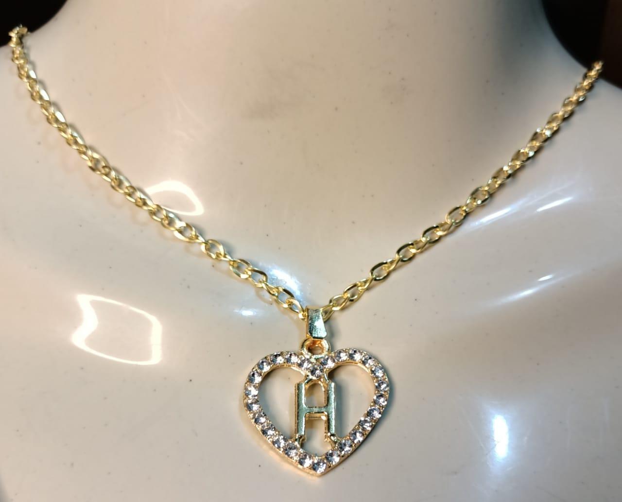 Golden Alloy Chain with Alphabet Heart Necklace/Locket/Pendants for Girls/Women/boys/men  - A to Z