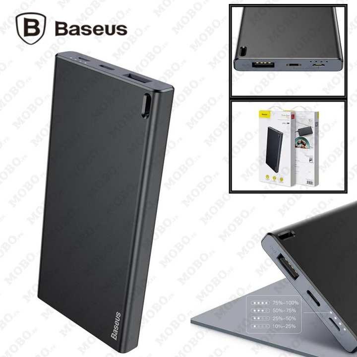 Original Baseus Choc Power Bank Thin Body Light & Portable 10000mAh Dual Input Type-C & Micro Quick Charger (Black)