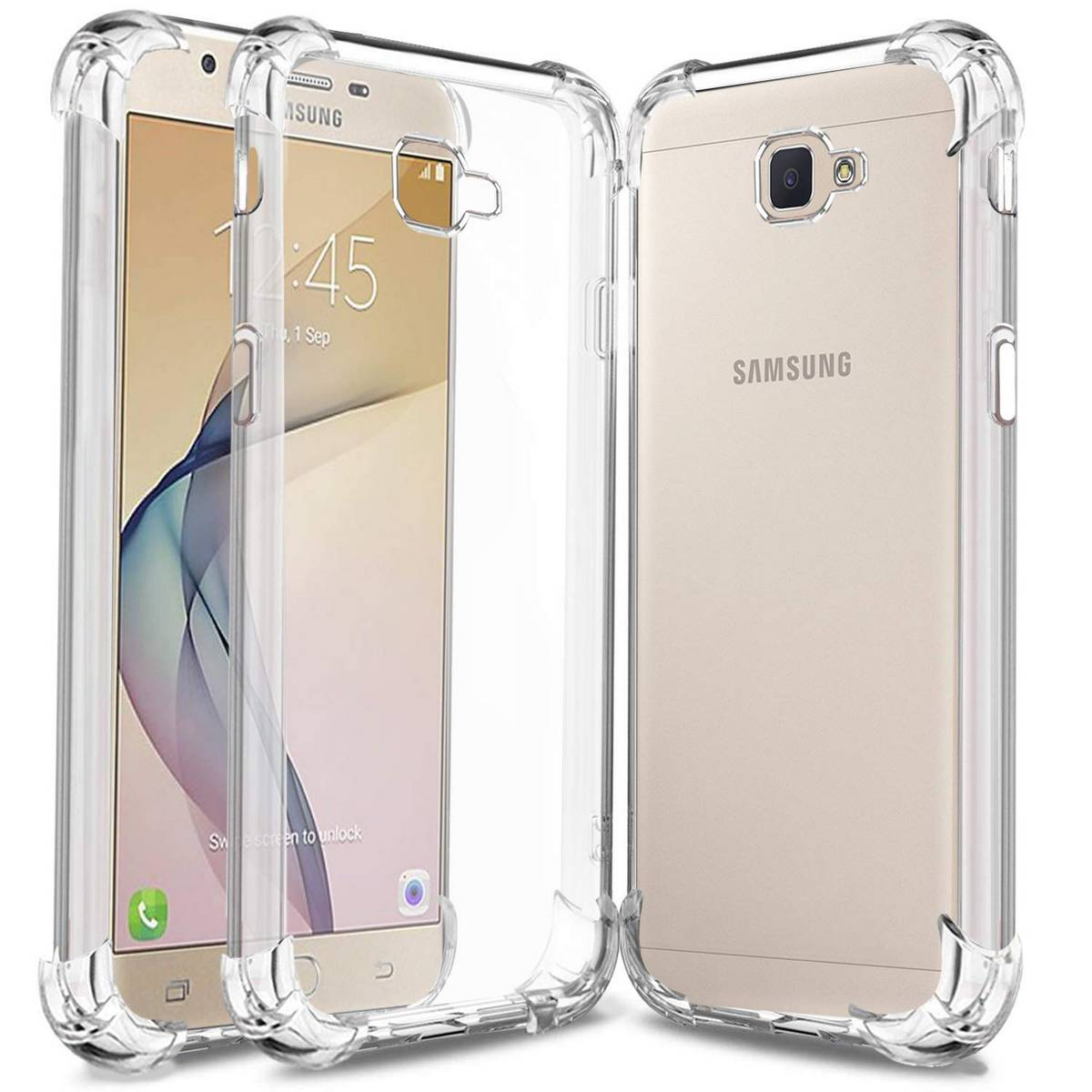 Samsung Galaxy J7 Prime Airbag Case Anti Shock and Anti-Scratch Resistant Clear View Transparent Silicone Back Cover