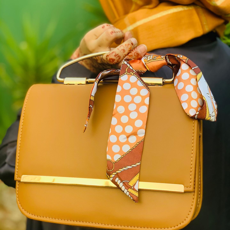 Ladies Bags New Trendy Ladies Fashion  Women Hand Bags Girls Bags Long Strap Shoulder Bag Cross Body Bag Mustard Grey Plum Color with Silk tie