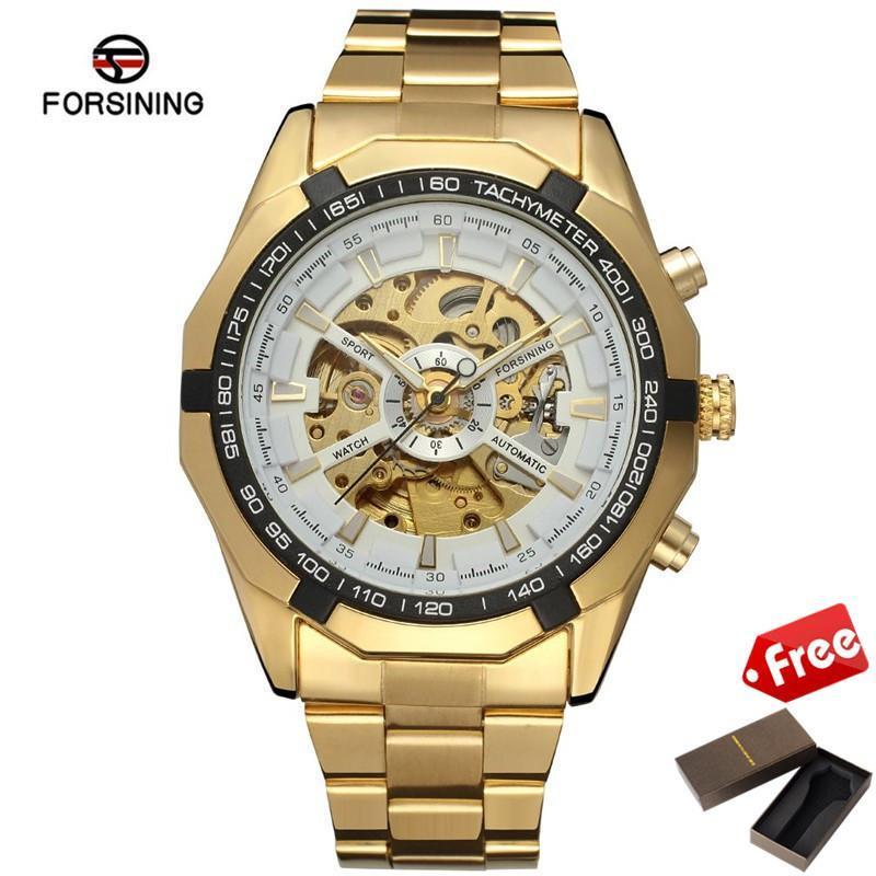 9bff9a61d [Free One Original Box] Forsining Automatic Mechanical Skeleton Watch Men  Steel Wristwatch Male Luxurious