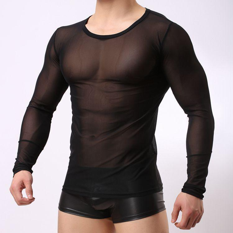 18a78460c Mens Mesh Visible Breathable Slim Fit Crew Neck Long Sleeve T-shirt