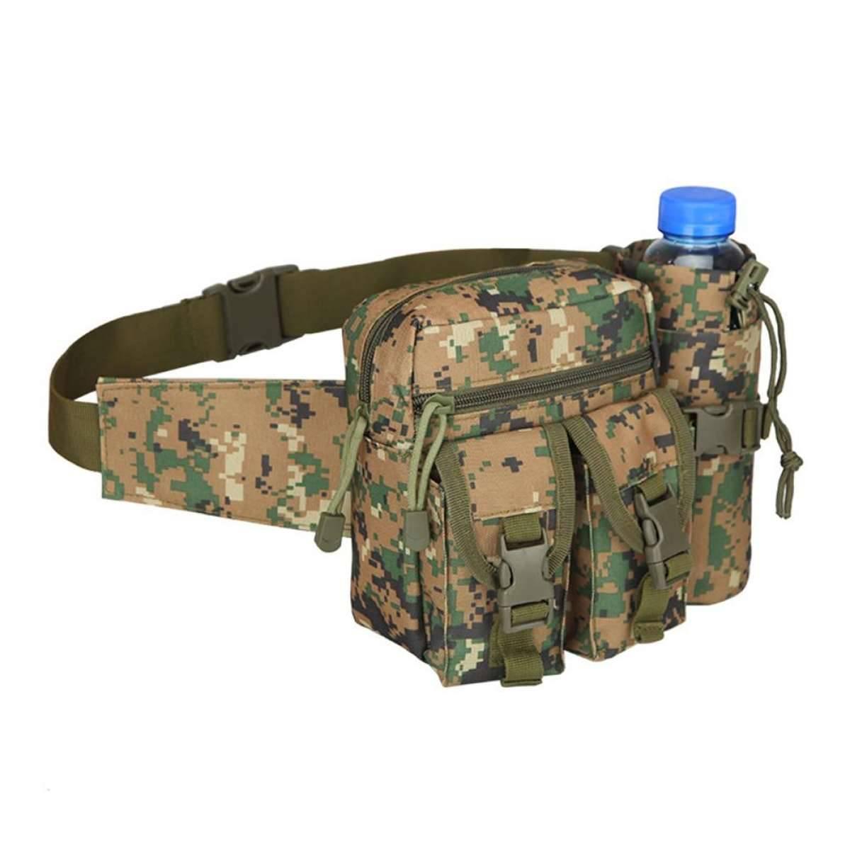Men Waist Waist Pack Pouch with Water Bottle Holder Waterproof 800D Nylon Belt Bum Bag Waist Bag Men