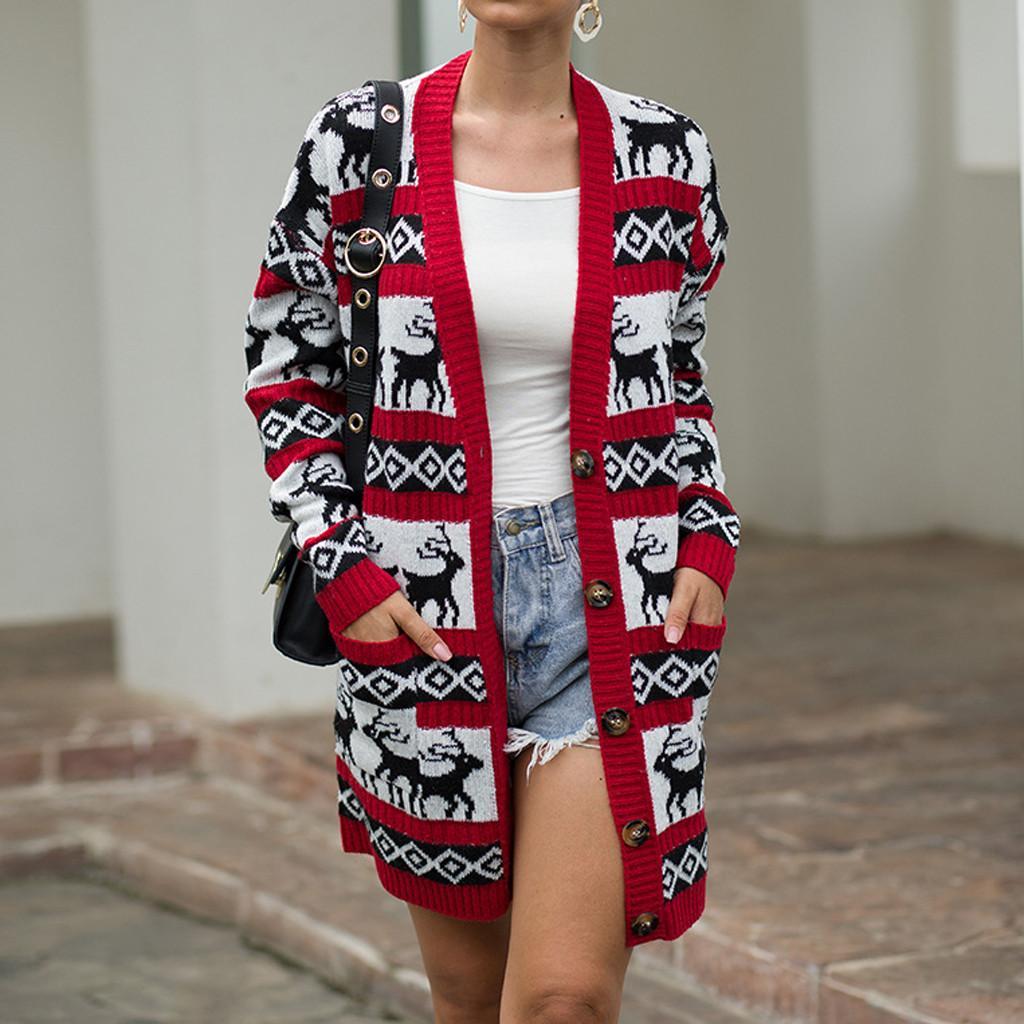 Women Christmas Elk Print Sweater Winter Long Sleeve Outwear Overcoat Coats Comfortable Versatile Tops