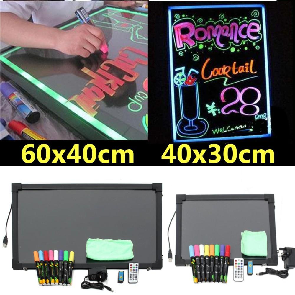 2 Sizes Flashing Illuminated Erasable Neon LED Message Menu Writing Sign Board
