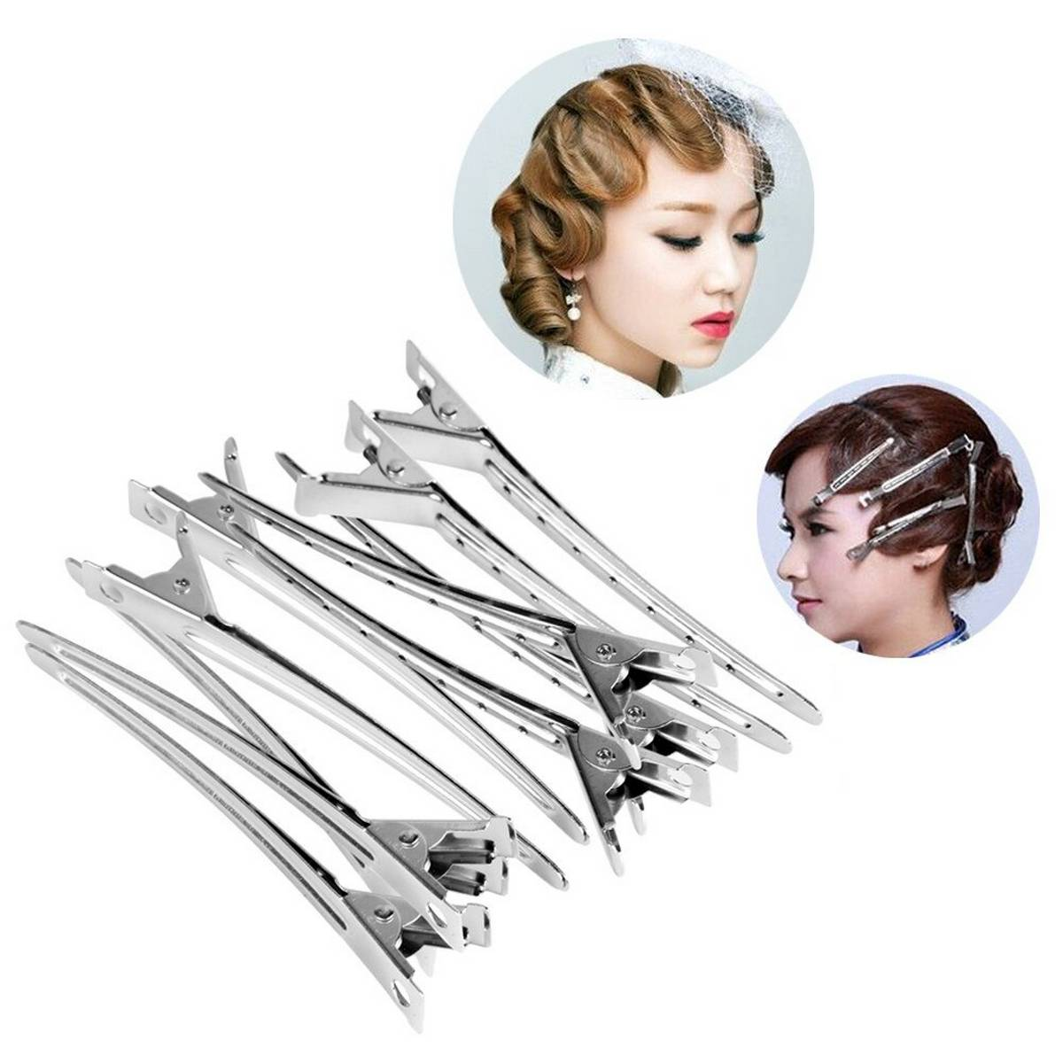 Fashion Jewelry 12 Pcs Holding Hair Style Clip Flat Duck Mouth Hair Clips