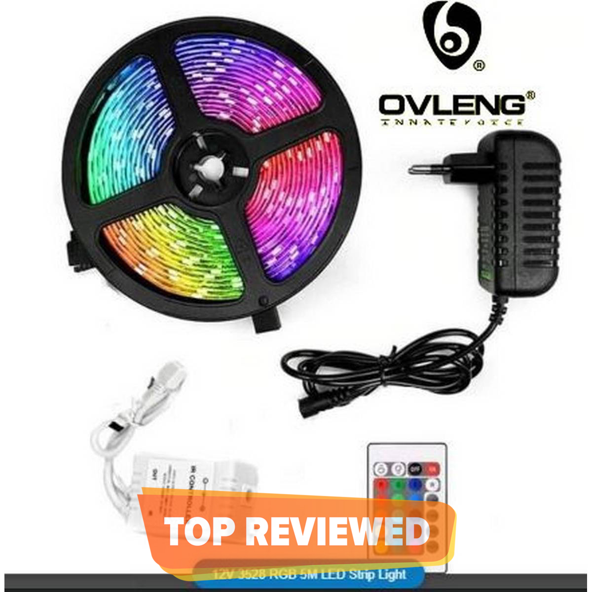 OVLENG RGB Led Light Waterproof Remote Control Color Changing - For Gaming Room