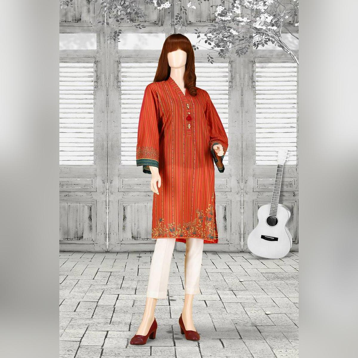 SAYA Orange Unstitch Printed Spring Summer 2021 Lawn Shirt for Women-HEATHER UO-2106-07B (SHIRT)