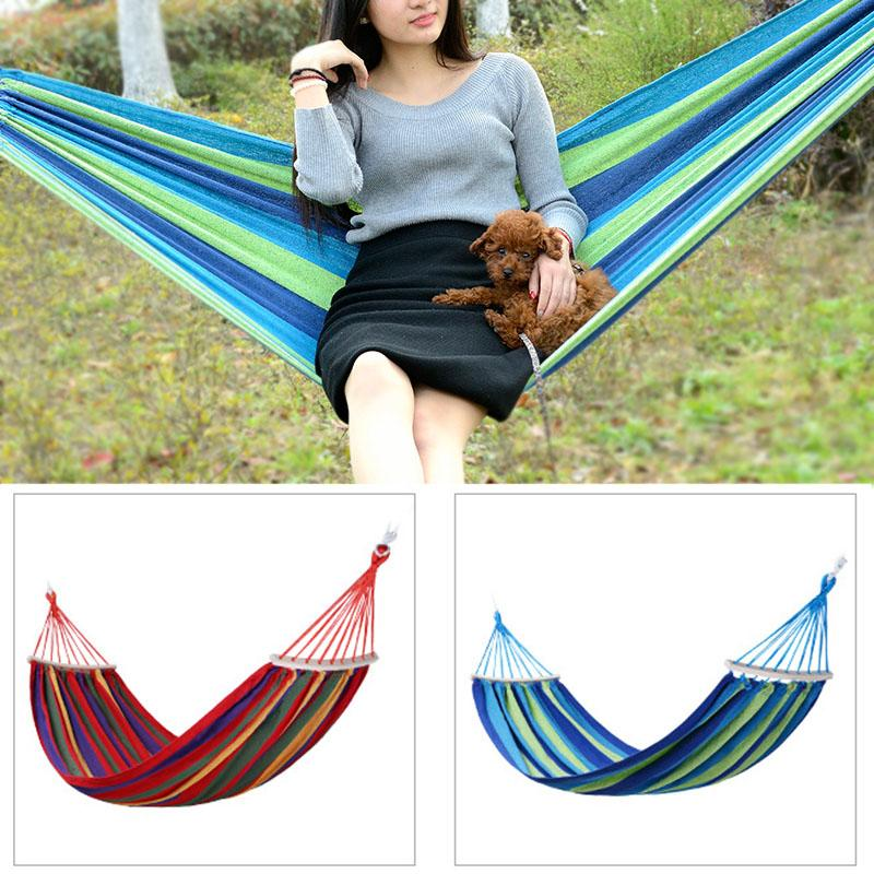 Camp Sleeping Gear Popular Brand Portable Outdoor Garden Hammock Hang Bed Travel Camping Swing Canvas Stripe