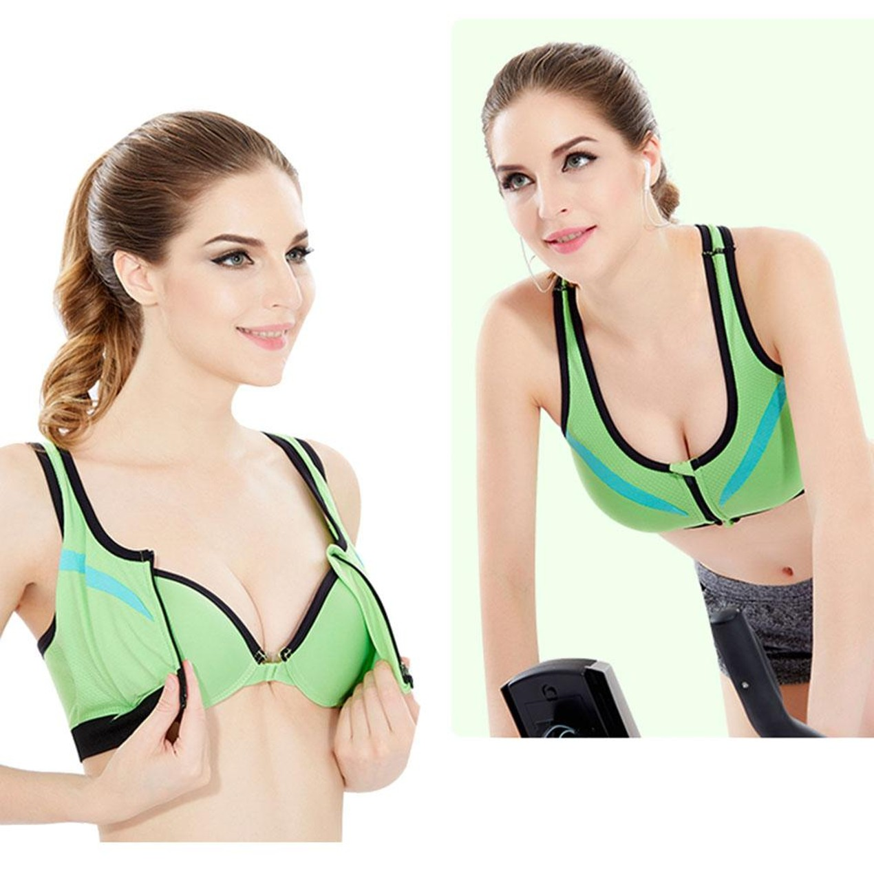 Sports Bra Padded for Gym Workout Bra Front Zip for Yoga Exercise Running Bra Free Size (Suits 30-34 ) Multicolor Double Layer Sports Bra